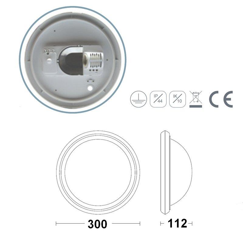 Costo e27 hublot blanc polycarbonate ip44 ik10 avec detecteur de mouvement int gr et invisible - Douille detecteur de mouvement ...