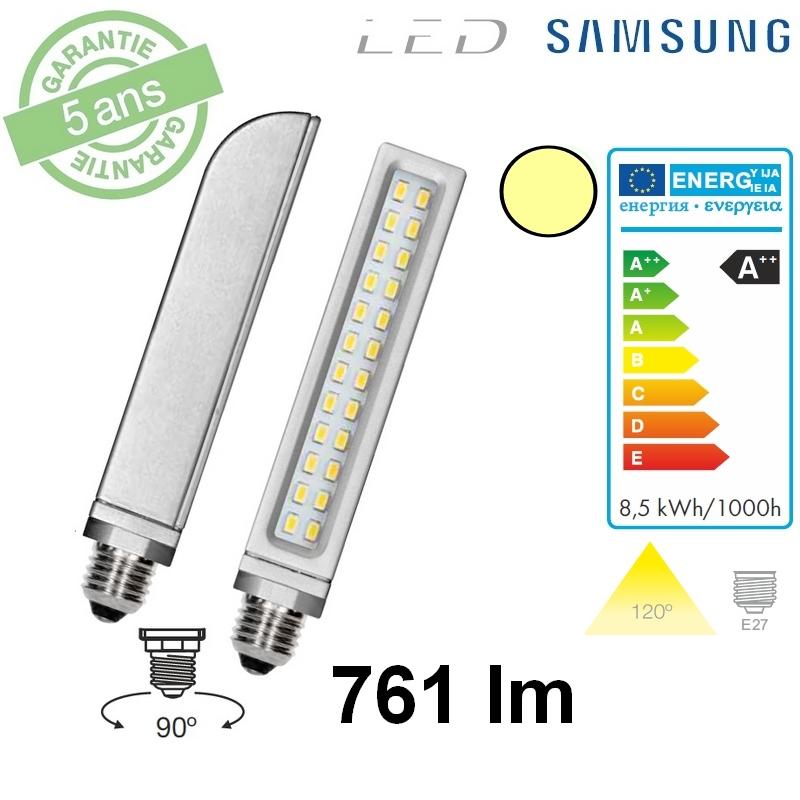 PL24-E27 : Lampe LED 8W E27 761 lumens 3000°K
