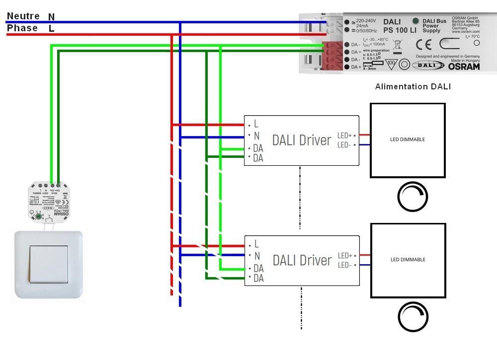 Utilisation d'un module DALI PCU sans cable supplementaire vers votre interrupteur mural