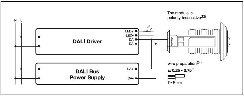Cablage du convertisseur avec driver DALI