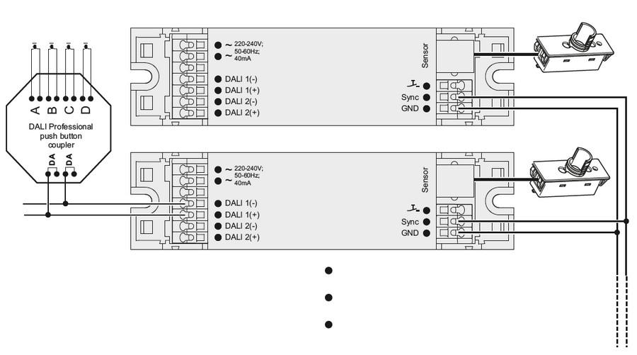 cablage et synchronisation de plusieurs controleurs DALIeco