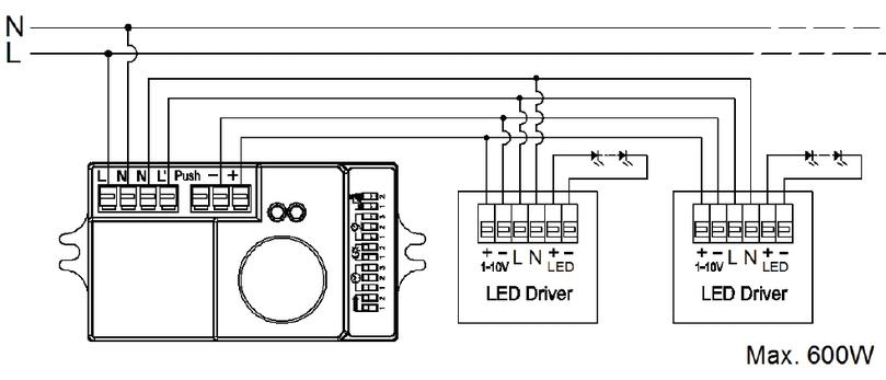 Cablage détecteur avec driver 1/10V pour système corridor