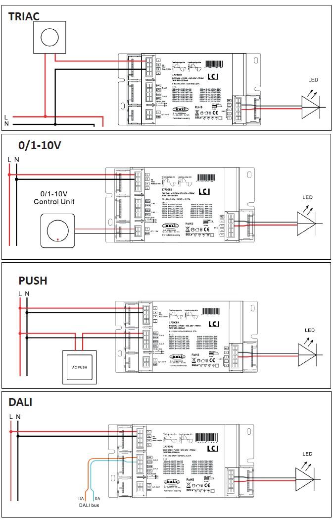 Cablage du driver LED en fonction du mode de commande