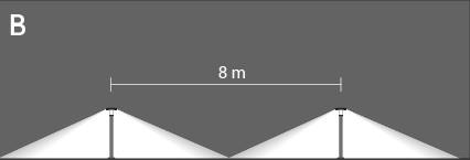 interdistance entre 2 bornes 20W sur poteaux 800mm