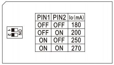 réglage courant de sortie 180 à 270 mA