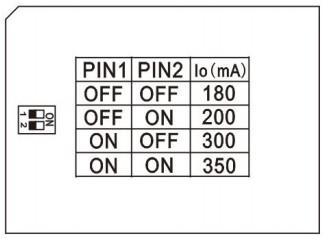 réglage courant de sortie 180 à 350 mA