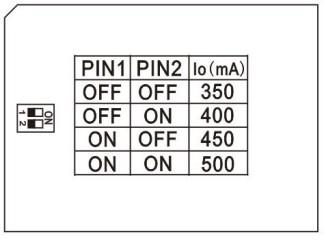 réglage courant de sortie 350 à 500 mA