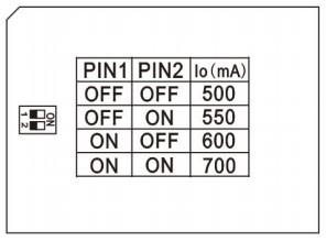 réglage courant de sortie 500 à 700 mA
