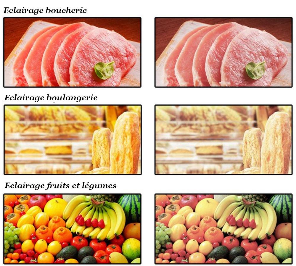 Exemple d'éclairage de denrées alimentaires fraiches