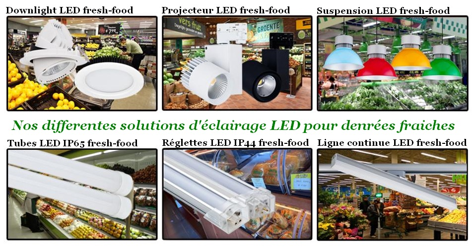 Differents systemes d'éclairage de denrées alimentaires, projecteur, suspensions, reglettes, downlight