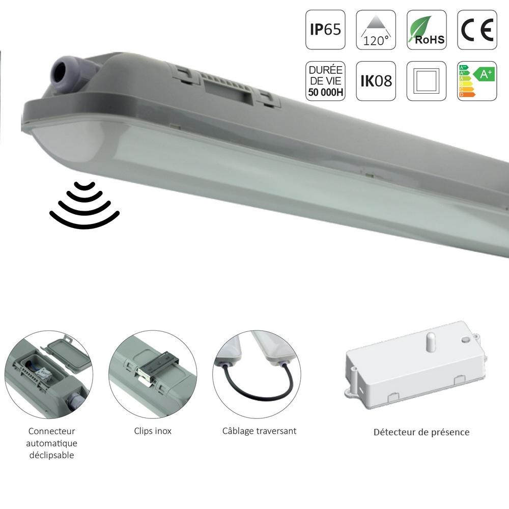 r glette led tanche ip65 48w 5000 lumens 1m50 avec detecteur de pr sence. Black Bedroom Furniture Sets. Home Design Ideas
